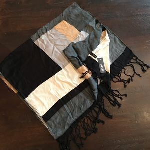 Apt. 9 Black/Gray/White Braided Fringe Scarf